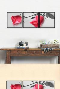 精美拼接玫瑰花无框画设计