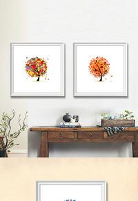 高端简约彩色树木无框画设计