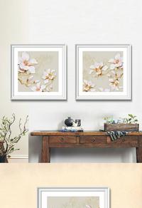 高清拼接白色花卉无框画设计