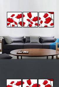 创意拼接红色花卉无框画设计