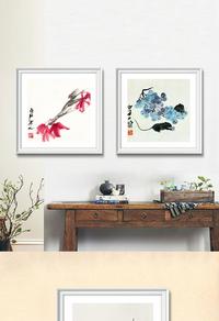 经典中式花卉无框画设计