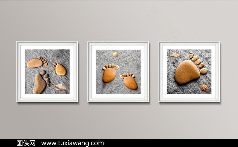 创新沙滩脚丫装饰画设计