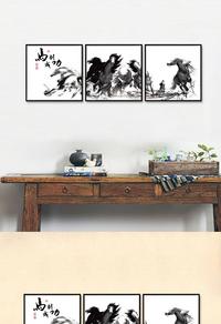 创新拼接骏马奔腾装饰画设计
