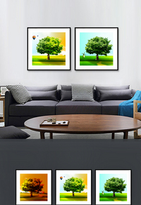 精选绿色树木无框画设计