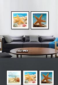 高端蓝色沙滩贝壳装饰无框画设计