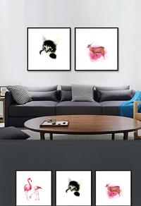 高清简约动物装饰画设计