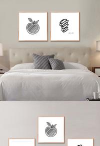 创意黑白简笔画无框画设计