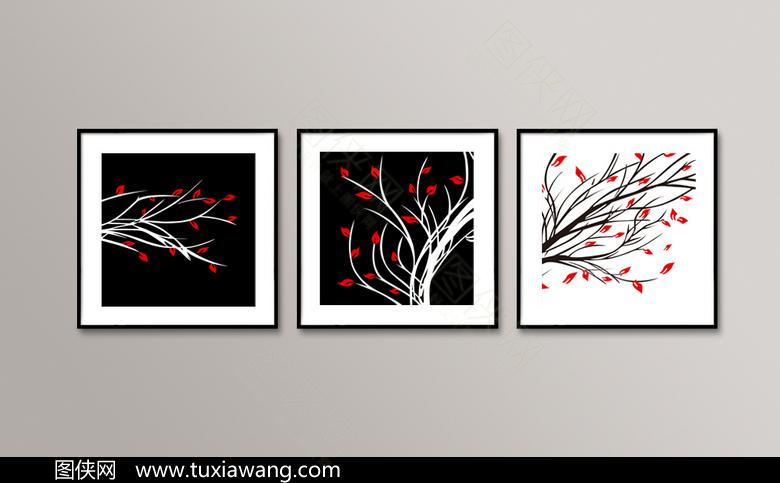 精美黑白树木无框画设计