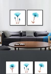 高级蓝色简约花卉装饰画设计