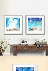 高清蓝色海滩无框画设计