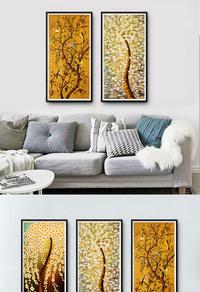 原创金色树木无框画设计