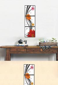 高档拼接红色花卉装饰画设计