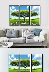 精选大树无框画设计