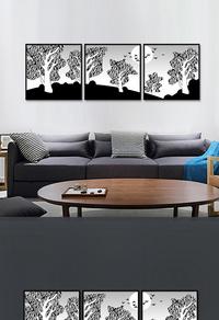 高端拼接黑白树木无框画设计