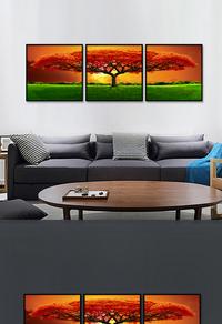 创新拼接彩色大树无框画设计