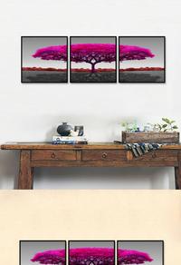 创意拼接红色树木无框画设计
