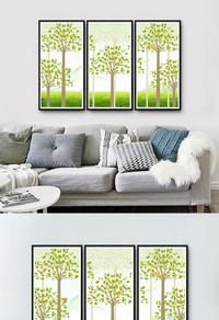精美卡通绿植无框画设计