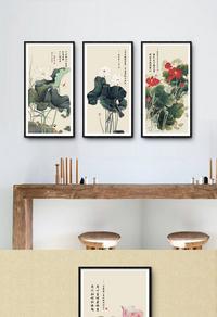 创新中式荷花装饰画设计