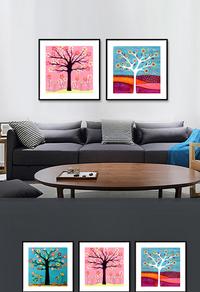精美发财树装饰画设计