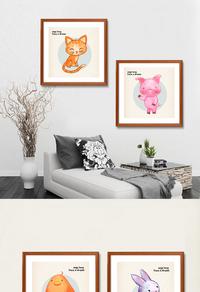 可爱动物装饰画设计