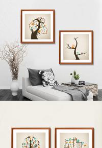 创意发财树装饰画