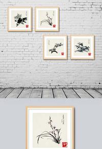 水墨梅兰竹菊装饰画