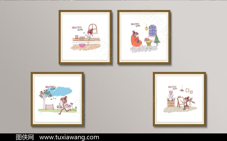 卡通可爱女孩装饰画设计