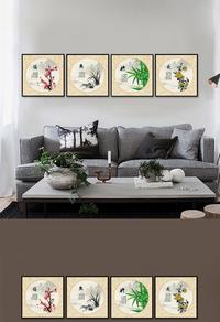 高清梅兰竹菊客厅国画设计