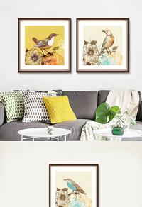 手绘花鸟装饰画设计