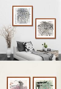 水墨树木装饰画下载