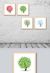 高清炫彩发财树装饰画设计