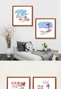 手绘可爱卡通人物装饰画设计