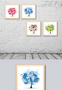 彩色树木装饰画设计