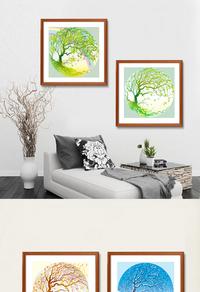 绿色大树装饰画设计