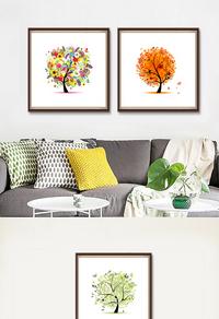 彩色发财树装饰画
