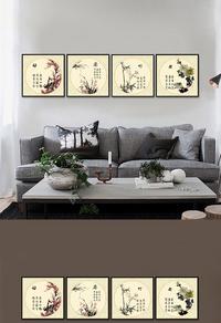梅兰竹菊装饰画