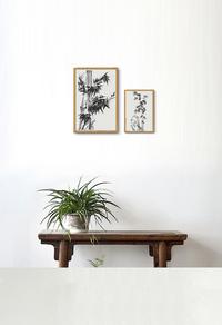 竹子水墨国画装饰画设计