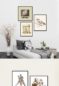 复古鸟儿挂钟装饰画设计