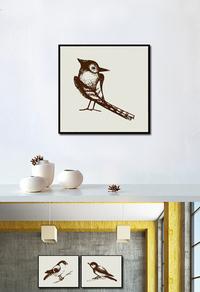 复古鸟装饰画设计