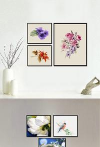 彩色水墨花卉装饰画下载