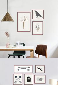 现代简约树木装饰画设计