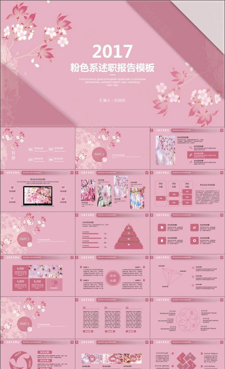 粉色系和风日系述职报告PPT模板