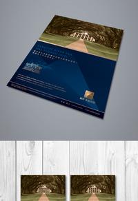 蓝色高档房地产宣传海报设计