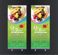 创意蔬菜X展架易拉宝模板设计下载