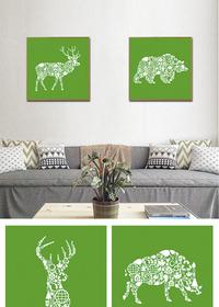创意麋鹿装饰画画拼画鹿头