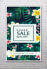花卉服装促销海报