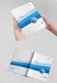 蓝色简约企业画册模板