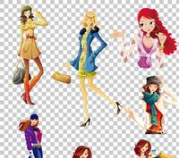 各种卡通美女素材集合
