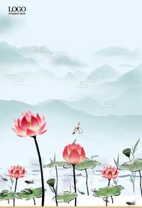 中国风荷花背景图