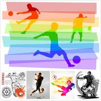 彩色足球运动人物矢量